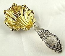 French Silver & Vermeil Scalloped Shape Tea Caddy Spoon / Scoop