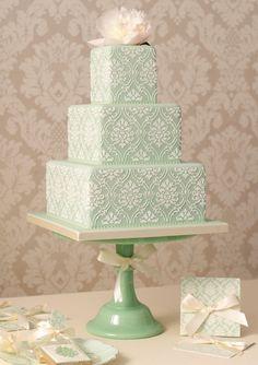 Mint Green Lace Cake #foodstyling #sweet #baking