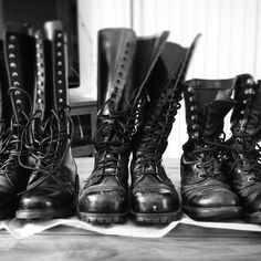 Looks like I'll never outgrow combat boots. Got my first pair (far right, Corcoran Jump Boots) in December then the middle pair (Underground Shoes UK) in spring They've served me well but I've always coveted Fluevogs. Welcome to the boot family, . Tall Leather Boots, Tall Boots, Lace Up Boots, Leather Men, Men's Boots, New Chic Shoes, Shoes Uk, New Shoes, Burberry Men