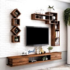 Tv Unit Interior Design, Tv Unit Furniture Design, Tv Wall Design, Tv Shelf Design, Tv Cabinet Wall Design, Tv Cabinet Design Modern, Furniture Decor, Tv Unit Decor, Tv Wall Decor