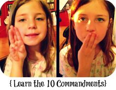 Memorize the 10 Commandments in 5 Minutes... Teach kids these hand motions for each of the commandments example: commandment 3 - hold up 3 fingers, then put them over your mouth = Don't take the Lords name in vain. (There are pictures and at the bottom of the page a video)