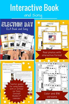 This cute WORD OF THE DAY ELECTION BOOK is perfect for teaching VOCABULARY. It is one of 5 books associated with our WORD OF THE DAY November calendar. Your kids can learn words like ELECTION, CAMPAIGN and VOTE in a fun PIGGY BACK SONG format! We have als