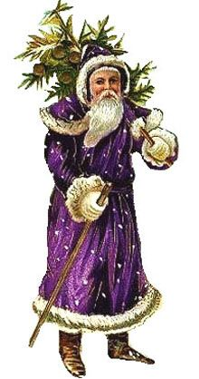 Victorian Free Christmas clipart - Santa Claus purple suit and plant