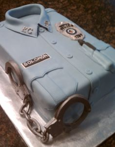 Correction Officer Uniform Cake - This 9x13 cake a retirement cake for my husband.  Such a cute grooms cake!!