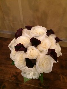 white roses and plum Calla lilies- simple and elegant!