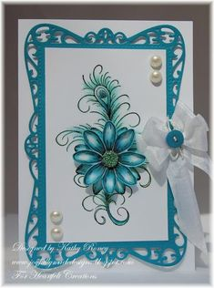 Teal Feathered Daisy by rosekathleenr - Cards and Paper Crafts at Splitcoaststampers