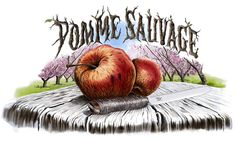 Pomme Sauvage illustration done for a craft beer label using a Wacom tablet in Photoshop.