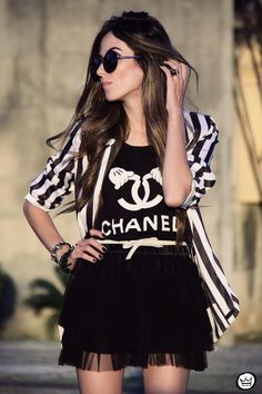 MIAH t-shirt chanel outfit striped listras