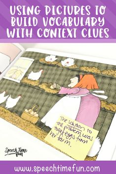 Using Pictures to Build Vocabulary with Context Clues in Speech Therapy - learn about fun and low prep ways to teach vocabulary so it carries over and sticks!