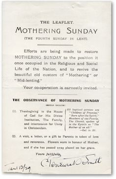 Single page leaflet to promote the revival of Mothering Sunday   Signed by C. Penswick Smith, founder of the Mothering Sunday Movement, 1929