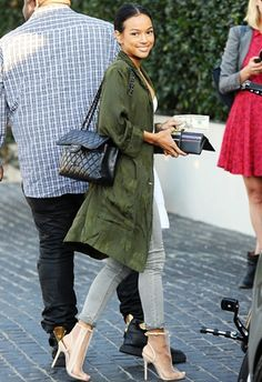 Karrueche Tran has lunch at Cecconis in Los Angeles, CA. January 2015