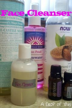 A drop of this: 1/4 c Castile soap 1/8 c water 1/8 c rose water 8 drops EO (4each chamomile lavender)