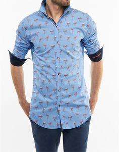 Camisa de A Fish Named Freed - Temporada: Primavera-Verano - Descripción: Camisa 100 € algodón, azul con estampación de flamencos