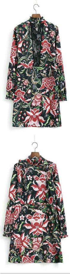 Floral Printed Loong Sleeve Casual Mini Dress