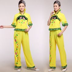 Younger new clothing square dance clothing dance stage show performances yellow opening dance costumes dance clothes