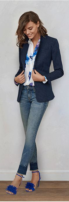 like the floral top under the striped blazer with jeans for work