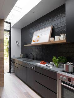 Light and dark woodgrains working together in a modern kitchen
