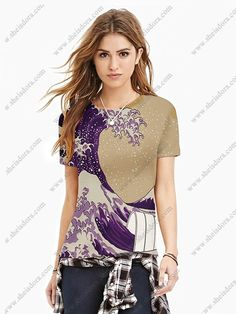 Short - Sleeved Round Neck Wave Printing Short - Sleeved T - Shirt1
