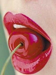 Glossy Red Cherry Lips