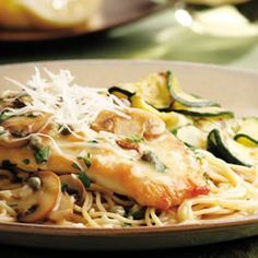 Chicken Piccata with Pasta & Mushrooms.chicken piccata, served over whole-wheat pasta, has a rich lemon-caper sauce that's made with extra-virgin olive oil and just a touch of butter for flavor. Pastas Recipes, Chicken Recipes, Healthy Chicken, Lemon Chicken, Italian Chicken, Capers Recipes, Recipies, Gourmet Chicken, Grilled Chicken