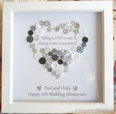Personalised Heart Anniversary Button Print by ButtonsandBobbinsUK