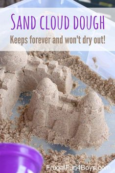 Cheap Summer Activities For Kids: Sand Cloud Dough - This sticky sand dough keeps forever and doesn& dry out! Games For Toddlers, Summer Activities For Kids, Summer Kids, Crafts For Kids, Preschool Crafts, Fall Crafts, Summer Beach, Toddler Activity Bags, Toddler Activities