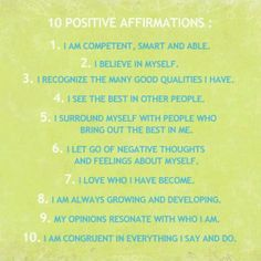 Self affirmations for confidence