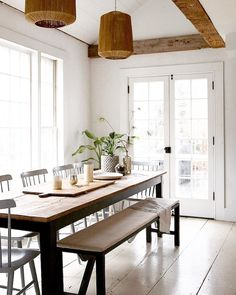 Old Soul: A Revolution-Era Hudson Valley Home Gets an Update from Jersey Ice Cream Co. - Remodelista : Jersey Ice Cream Co, Old Chatham, dining room Narrow Living Room, Living Spaces, Dining Room Inspiration, Interior Inspiration, Eat In Kitchen, Dining Room In Kitchen, Kitchen Seating, Kitchen Nook, Kitchen Signs