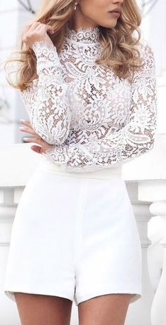 28 Gorgeous Bachelorette Outfits With A Wow Factor: #18. White shorts and a lace turtleneck with long sleeves