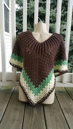 Hot Off My Hook! Project: Cowl-Neck Poncho Started: 07 Sept 2015 Completed: 10 Sept 2015 Model: Madge the Mannequin Crochet Hook(s): 7mm Yarn: Caron Simply Soft Color(s): Taupe, Sage, Off White Pattern Source: Simply Crochet Magazine Issue No. 25 Pattern Designed By: Simone Francis Notes: This is my 27th Cowl-Neck Poncho! My 4th made with Caron Simply Soft yarn!