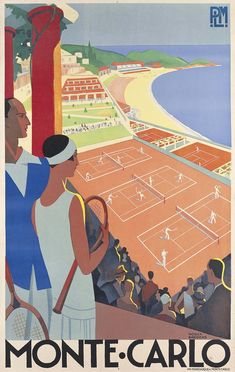 (sold)  Roger Broders (1883-1953), Monte-Carlo, circa 1930. Lithograph in colours. 39 1/2 x 25 in. (100 x 64 cm.) Estimate: £8,000-12,000