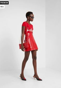 Moschino, Printed Shirts, Shoulder Dress, Red, Dresses, Fashion, Shirt Print, Vestidos, Moda