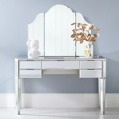 Jules Vanity Set (Desk & Vanity Mirror Hutch), Champagne Mirror