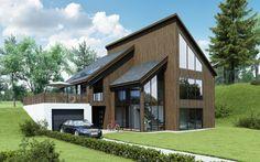 Kataloghus U- 120 - moderne bolig med skråtak og store vindusflater
