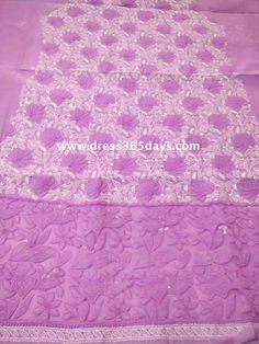 Buy Purple Cotton Unstitched Kurta Fabric with Chikankari and Net Applique Daaman