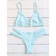SheIn(sheinside) Ladder-Cutout Strappy Bikini Set ($14) ❤ liked on Polyvore featuring swimwear, bikinis, blue, sexy bikini, strappy bikini, blue triangle bikini, blue bikini and cut-out bikinis