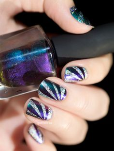 Nail art // Holographic and multichrome combination
