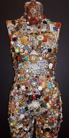 Vintage Jewel Encrusted Mannequin  Front by AnneReaDesigns on Etsy,
