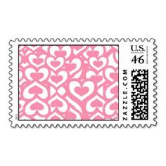 Cute Pink Heart Pattern Stamp