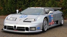 One-Off Bugatti EB110 SS Race Car with Quad-turbocharged 3.5-liter V12 producing 611 hp with custom factory race tuning, capable of 355 km/h,
