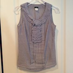 J Crew blouse, size 0 Blue and white stripe top, ruffle detail at neck, zipper closure down left side, 100 % cotton J. Crew Tops Camisoles