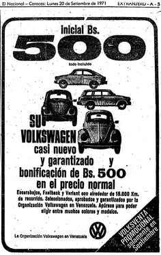Volkswagen. Publicado el 20 de septiembre de 1973.