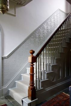 New ideas house entrance hallway railings. paint the dado rail all the way up the stairs as well Dado Rail Hallway, Grey Hallway, Hallway Paint, Hallway Flooring, Entryway Paint, Hotel Hallway, Modern Hallway, Entry Hallway, Edwardian Staircase