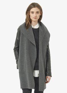 Leather Sleeve Shawl Collar Coat | Vince