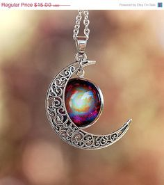 Sale and Free Shipping Moon of the Galaxy Pendant by KeypersCove