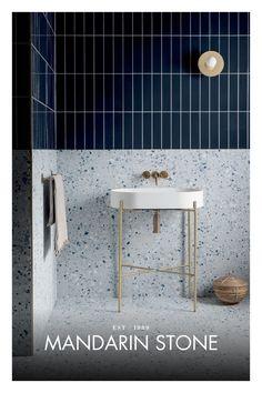 Bad Inspiration, Bathroom Inspiration, Modern Bathroom, Small Bathroom, Stone Bathroom, Mandarin Stone, Terrazzo Tile, Outdoor Tiles, Ceramic Wall Tiles