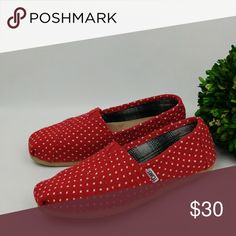 Toms red and white polka dot flats Toms red and white polka dot flats Worn handful of times, still look good Few scuffs on soles  Pictures are part of description Toms Shoes Flats & Loafers