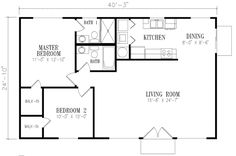 Mediterranean Style House Plan - 2 Beds 2 Baths 1000 Sq/Ft Plan #1-140 Floor Plan - Main Floor Plan - Houseplans.com