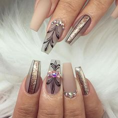 60 newest coffin nails designs short coffin nails; Glam Nails, Fancy Nails, Beauty Nails, Diva Nails, Cute Acrylic Nail Designs, Cute Acrylic Nails, Nail Art Designs, Coffin Nails Long, Long Nails