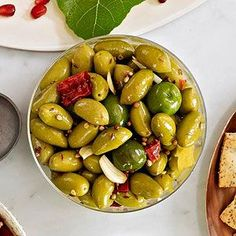 Moroccan Spiced Olives | more healthy holiday recipes: http://www.bhg.com/thanksgiving/recipes/heart-healthy-holiday-recipes/#page=5 #myplate